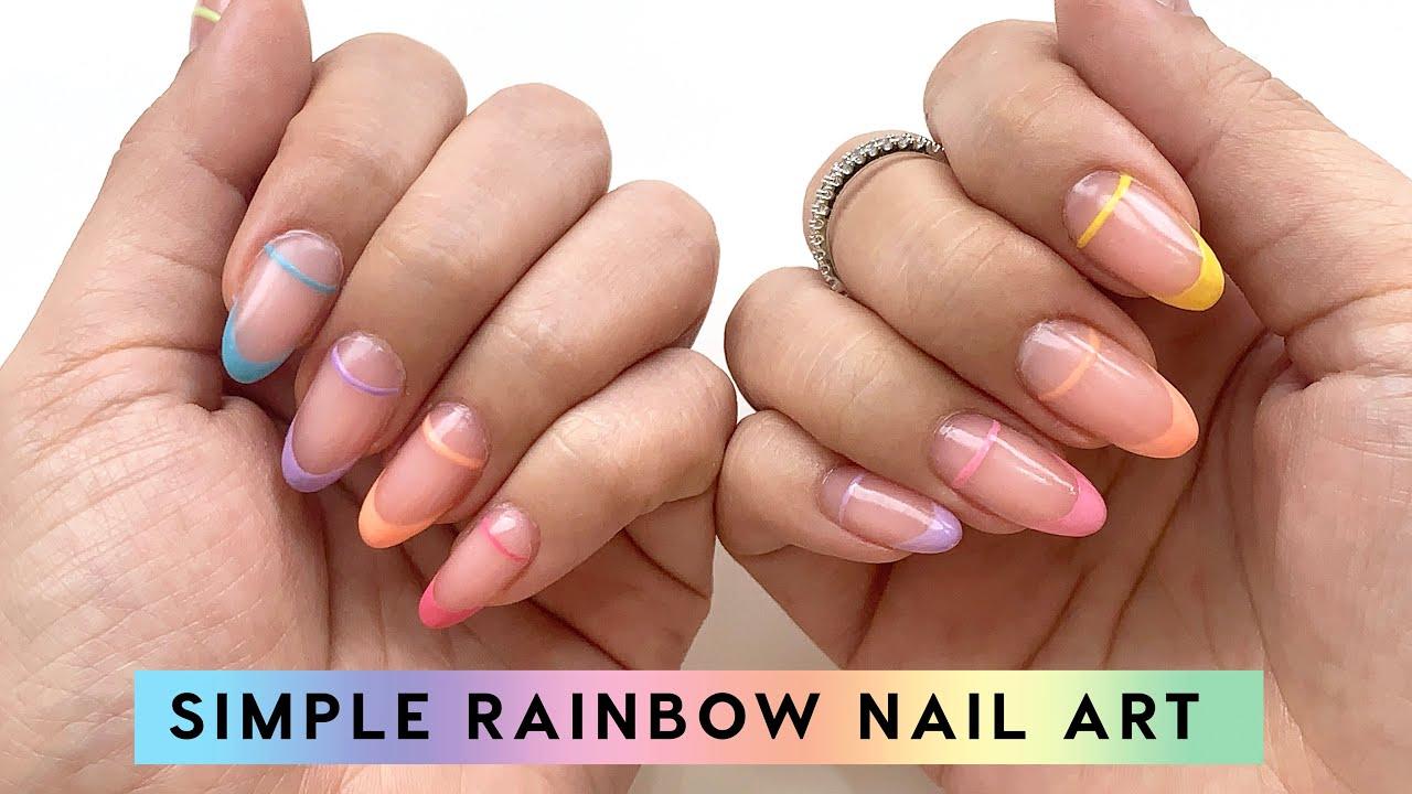 Simple Rainbow Nail Art Tutorial 🌈💅🏻