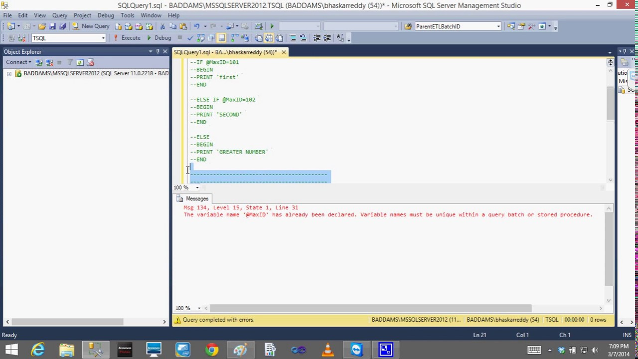 T sql lesson16 variables table variable temp tables for Table variable in sql server