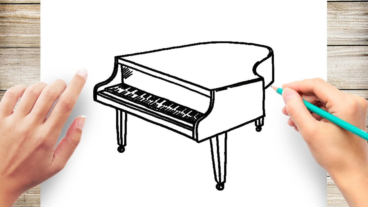 How To Draw Grand Piano Easy Youtube