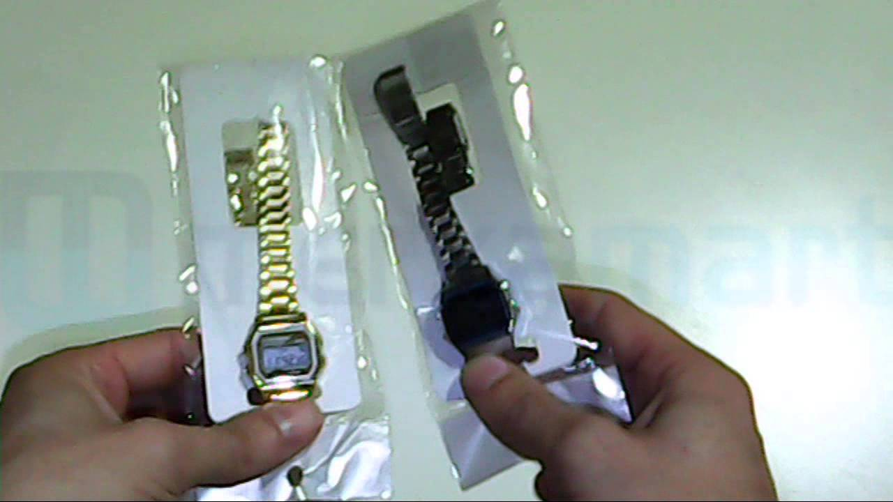 64f91037d65a RELOJ RETRO METALICO MINI TIPO CASIO. METALICO. DORADO Y PLATA - YouTube