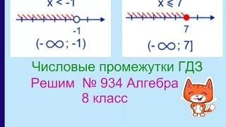 934 Алгебра 8 класс. Числовые промежутки. Принадлежит ли промежутку число