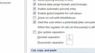Repeat youtube video How to change the separator for thousands and decimals in Excel