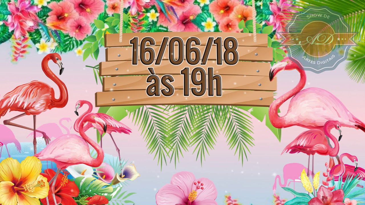 Convite Animado Flamingo Festa Tropical Youtube