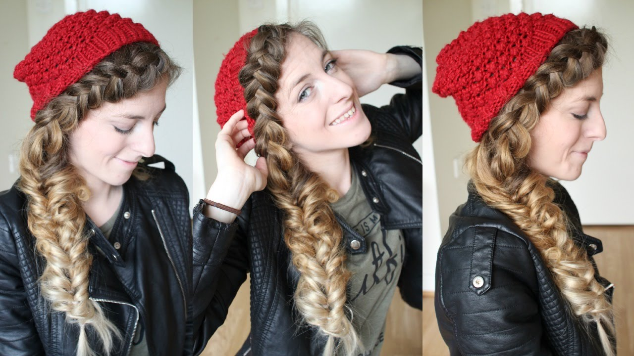 side beanie hat braid hairstyle
