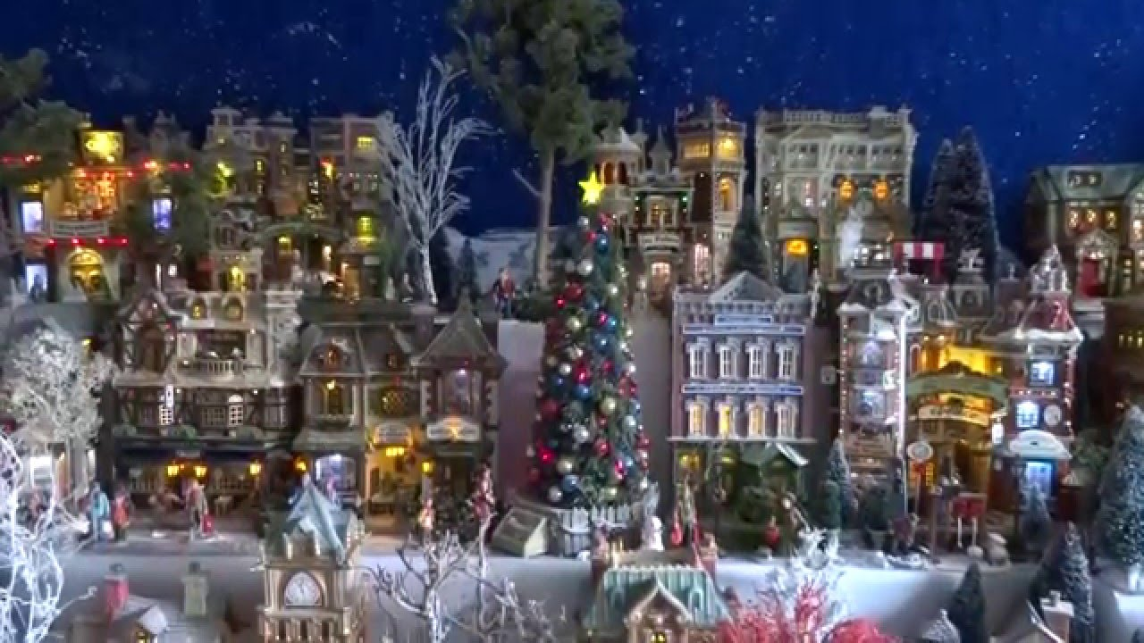 christmas village display 201415 lemax houses department 56 models trees snowmen and figurines youtube