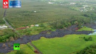 Aerial footage: Kilauea volcano lava swallows residential areas of Hawaii