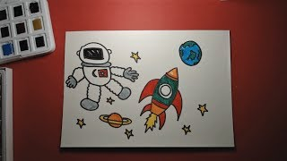 Fun Astronaut Illustration For Kids Astronot Educational Video Resim