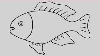 Wie zeichnet man eine Fisch. Animation und Unterhaltung für Kinder