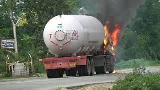 Gas Tanker Burning