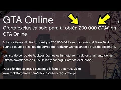 Como conseguir 200.000$ en 1 Minuto! Rockstar regala 200.000$ a todo el mundo!