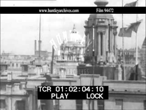 Shanghai Harbour in 1937.  Archive film 94472