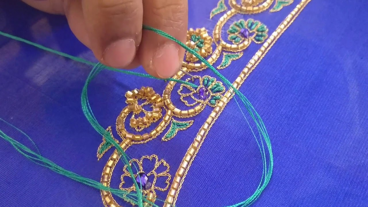 Detailed Thread Work For A Blouse Peacock Design Embroidery Youtube