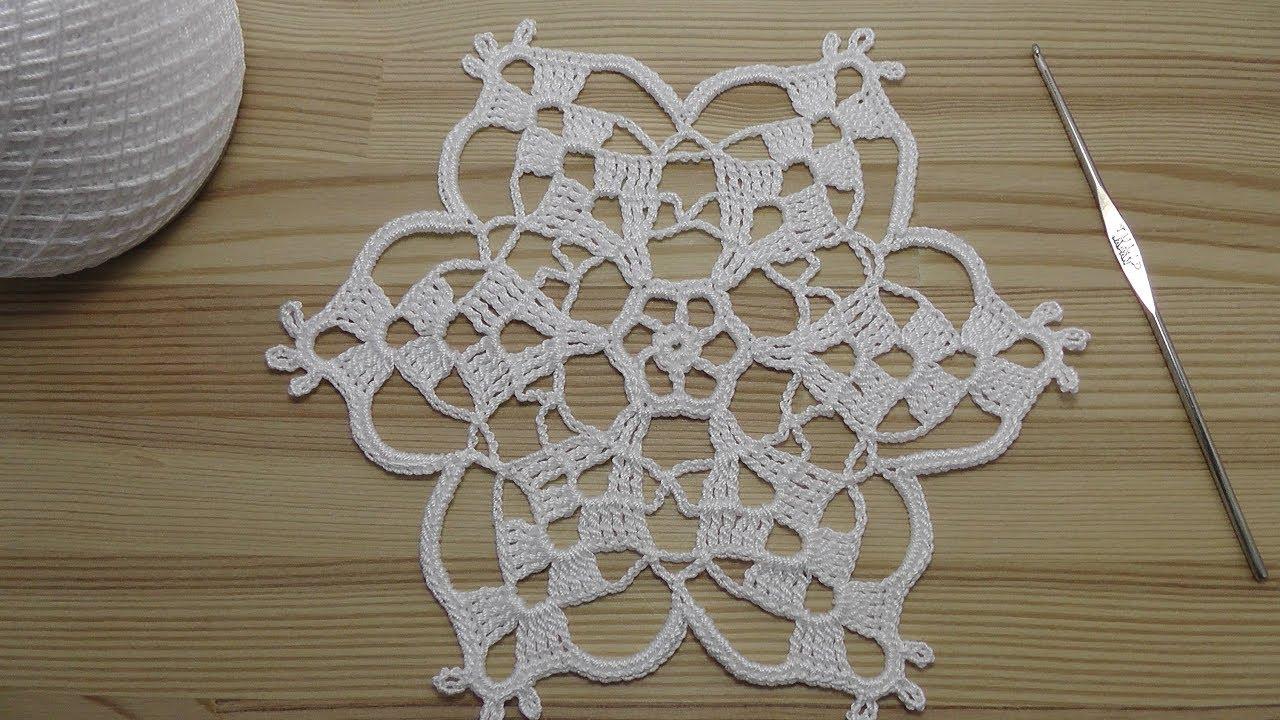 вязание крючком салфетки снежинки Crochet Motif Tutorial Youtube