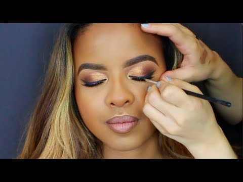 Makeup Artist Tutorial | WOC | Gold Cut Crease | Fall Makeup Look