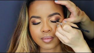 WOC Client Makeup Tutorial | Gold Cut Crease | Professional Makeup Artist Application