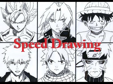 Speed Drawing Goku  Ichigo  Edward Elric  Natsu  Luffy