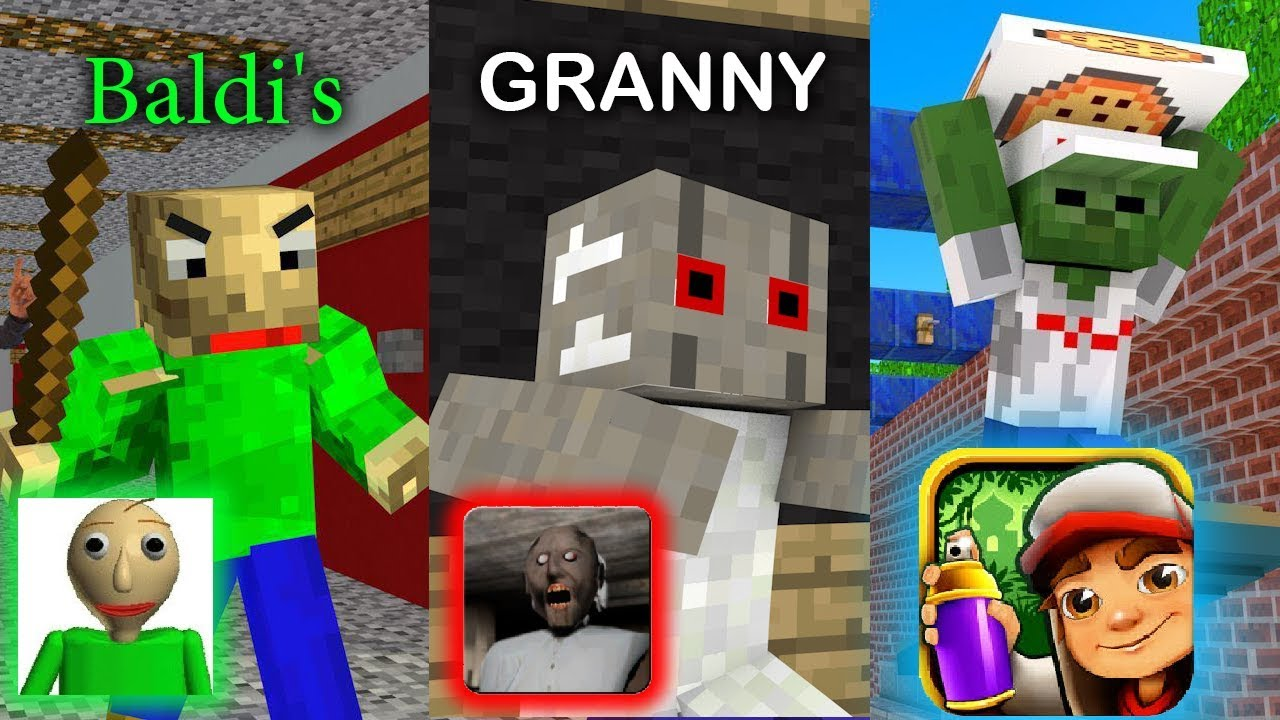 Monster School : BALDI'S BASICS VS GRANNY VS SUBWAY SURFERS GAME CHALLENGE - Minecraft Animation