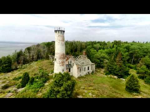 Poverty Island and St. Martin's Island Lighthouse drone video