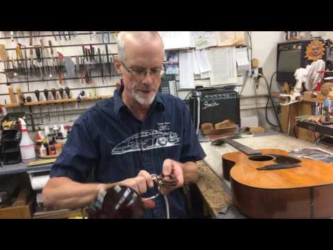 In The Shop: Removing the bridge on a Martin 00-18 from 1940!