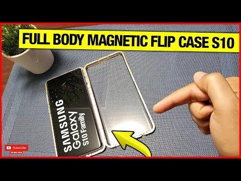 magnetic-metal-frame,-tempered-glass-front-&-back,-full-body-flip-case-for-s10/s10+/s10e