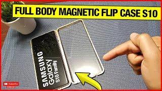 MAGNETIC METAL FRAME, TEMPERED GLASS FRONT & BACK, FULL BODY FLIP CASE FOR S10/S10+/S10E