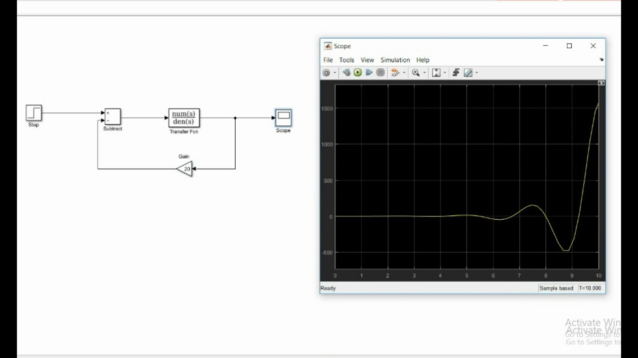Step Response of Transfer Function Using Simulink on Matlab