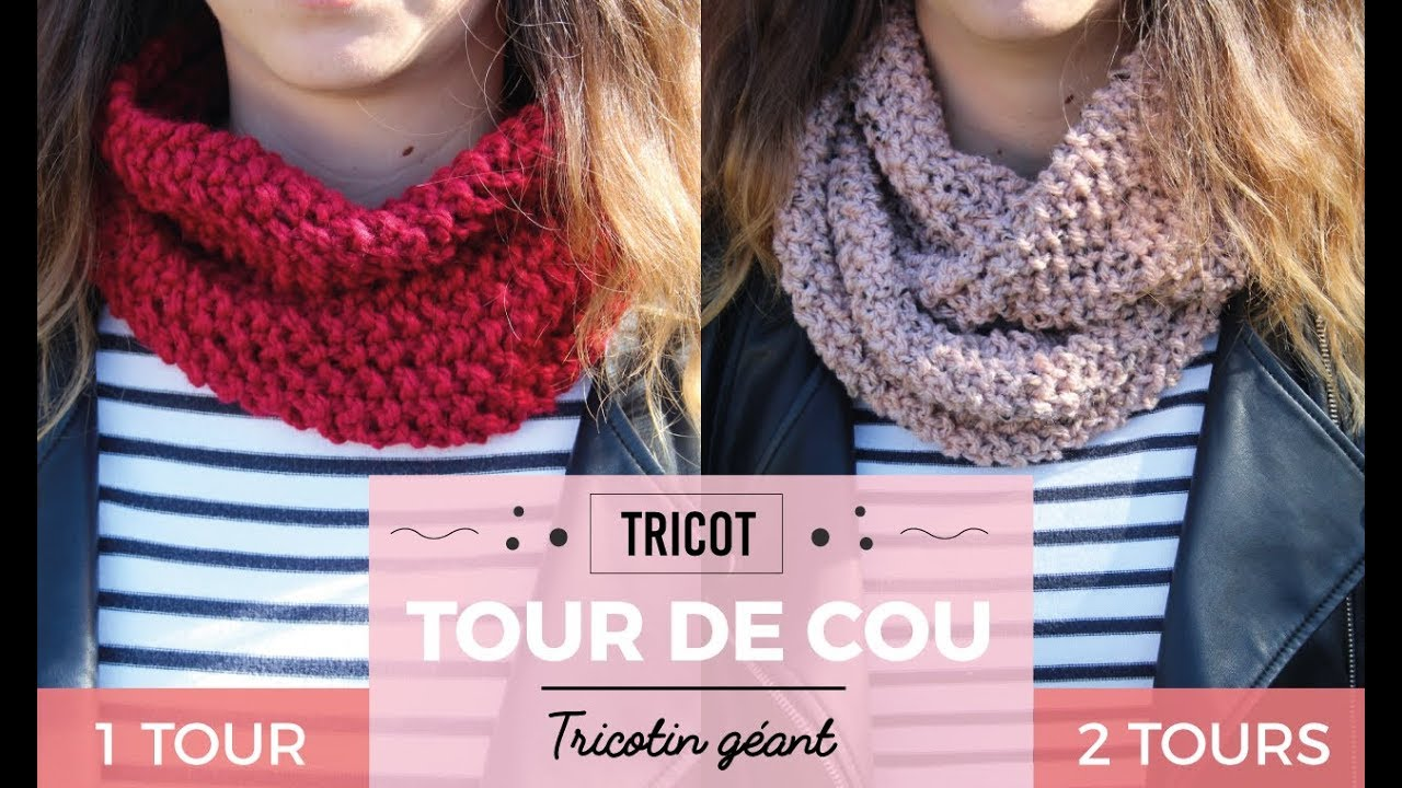 Très Tuto Tour de cou / Snood - Tricotin géant - DIY - YouTube KD14