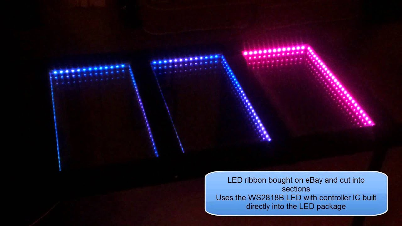 mirror lighting strips. Infinity Mirror Table Using WS2812B LED Strips And Flowcode V6 Lighting I
