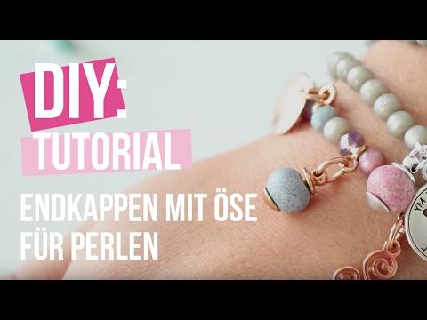 DIY TUTORIAL: DQ Metall Endkappen mit Öse für Perlen – Selbst Schmuck machen