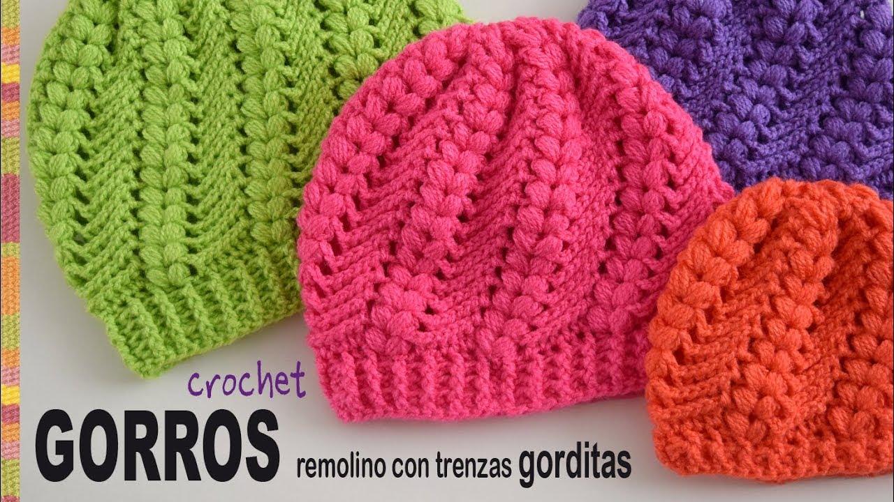 Gorros remolino con trenzas gorditas tejidos a crochet - Tejiendo ... 6e0bf618c87