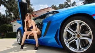 Azure Blue Lamborghini Aventador - Model's Cute Reaction