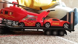 Police cars toys with fire engine cars and play with Dlan