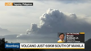 Taal Volcano Spewing Ash and Smoke
