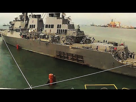 Damaged destroyer USS McCain LOADED onto GIGANTIC HEAVY LOAD