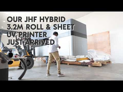 JHF Hybrid 3.2 UV Printer unboxing - Dubai Openhouse 2018