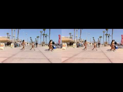 3D Biking at Huntington Beach California Stereoscopic