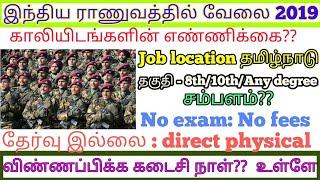 Central government job in tamilnadu 2019 //இராணுவத்தில் வேலைவாய்ப்பு//Govt Jobs Alert