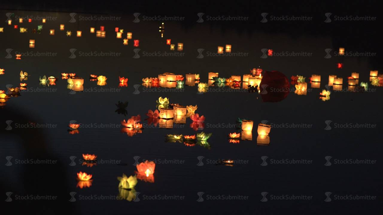 Floating Lotus Flower Paper Lanterns On Water Festival Of Water