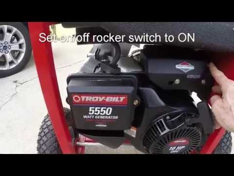Troy-Bilt 5550 Watt Generator Starting, Oil Change and Storage Hints.
