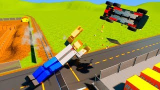 Lego Cars vs Ragdolls Falls Crasch | Brick Rigs