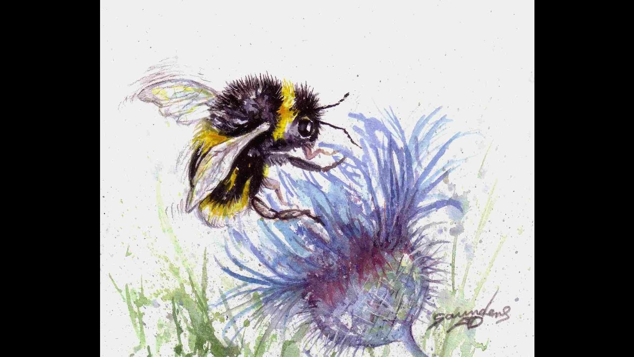 Painting A Bumble Bee In Watercolour