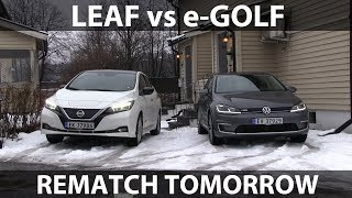Rematch between Leaf and e-Golf live tomorrow