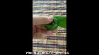 พับกุหลาบจากใบเตย (making rose from pandan leaf)