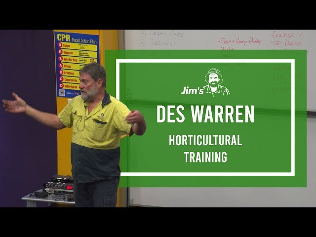 #JIMSEXPERT Des Warren horticulture lecture from the Jim's Mowing Facility