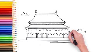 Learn how to draw China Forbidden City - video for kids to learn how to draw have fun learning art!