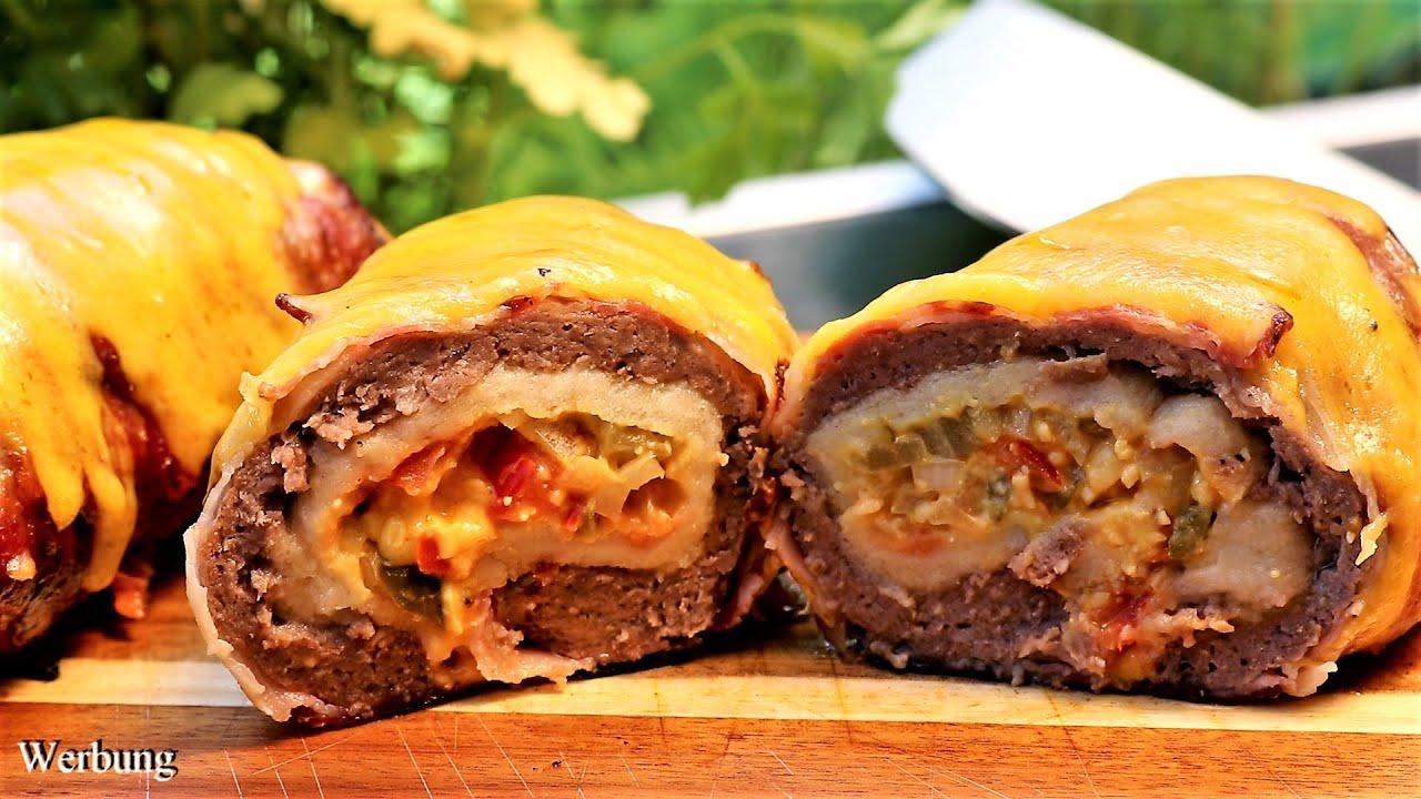 Cheeseburger Bacon Rolls und Vorstellung Grillrost.com Burgerset und Flaschenhalter
