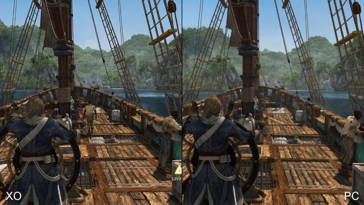assassins creed 4 xbox one vs pc comparison youtube