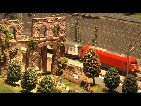 Fantastic model railroad layout DCC controlled in HO scale