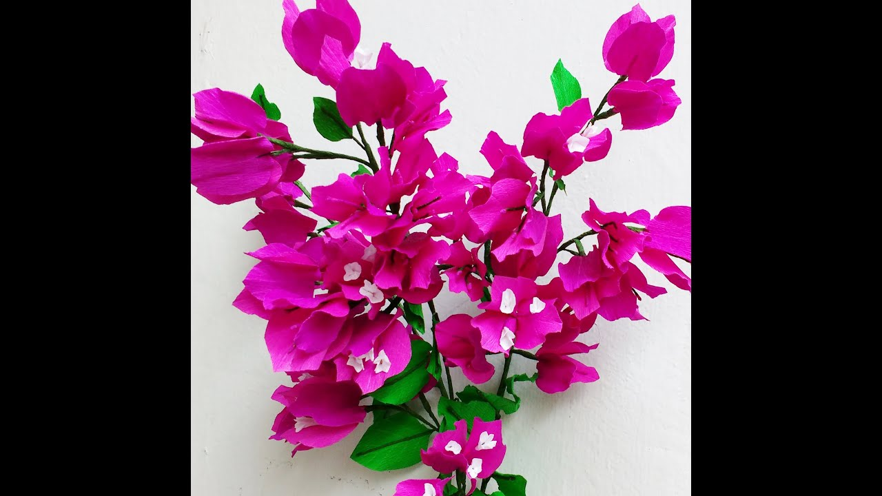 How To Make Paper Flowers Bougainvillea Flower 72 Youtube