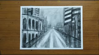 Charcoal 1-Point Perspective Drawing - Cityscape | Sketching and Shading Art Lesson